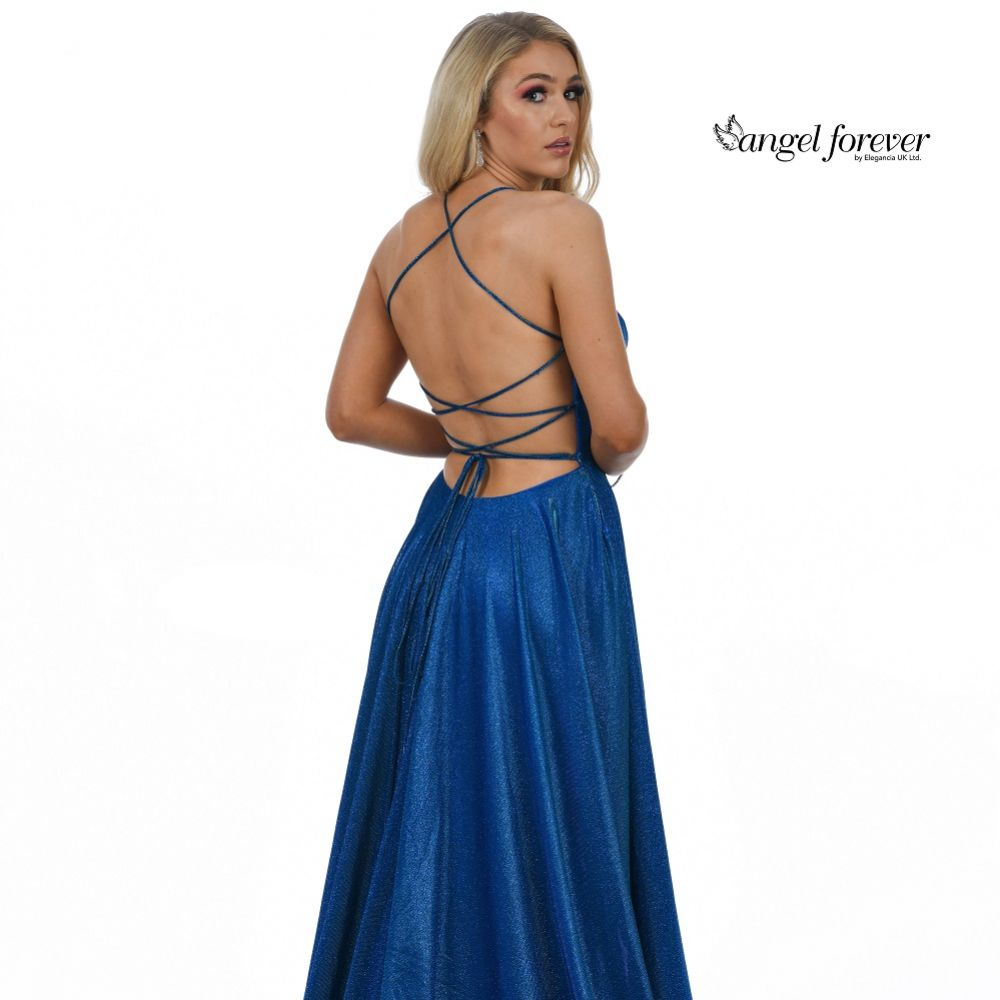 Angel Forever Sparkly A Line Backless Prom Dress with Pockets (Royal Blue)