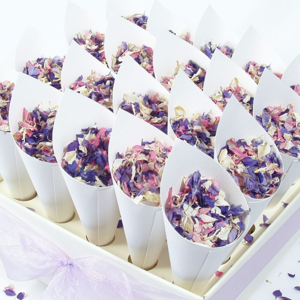 Confetti Cone Set with Ivory and Gold Delphinium Petals