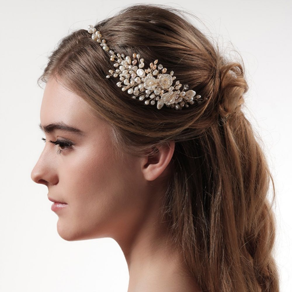 Cordelia Gold Freshwater Pearl and Flowers Hair Vine