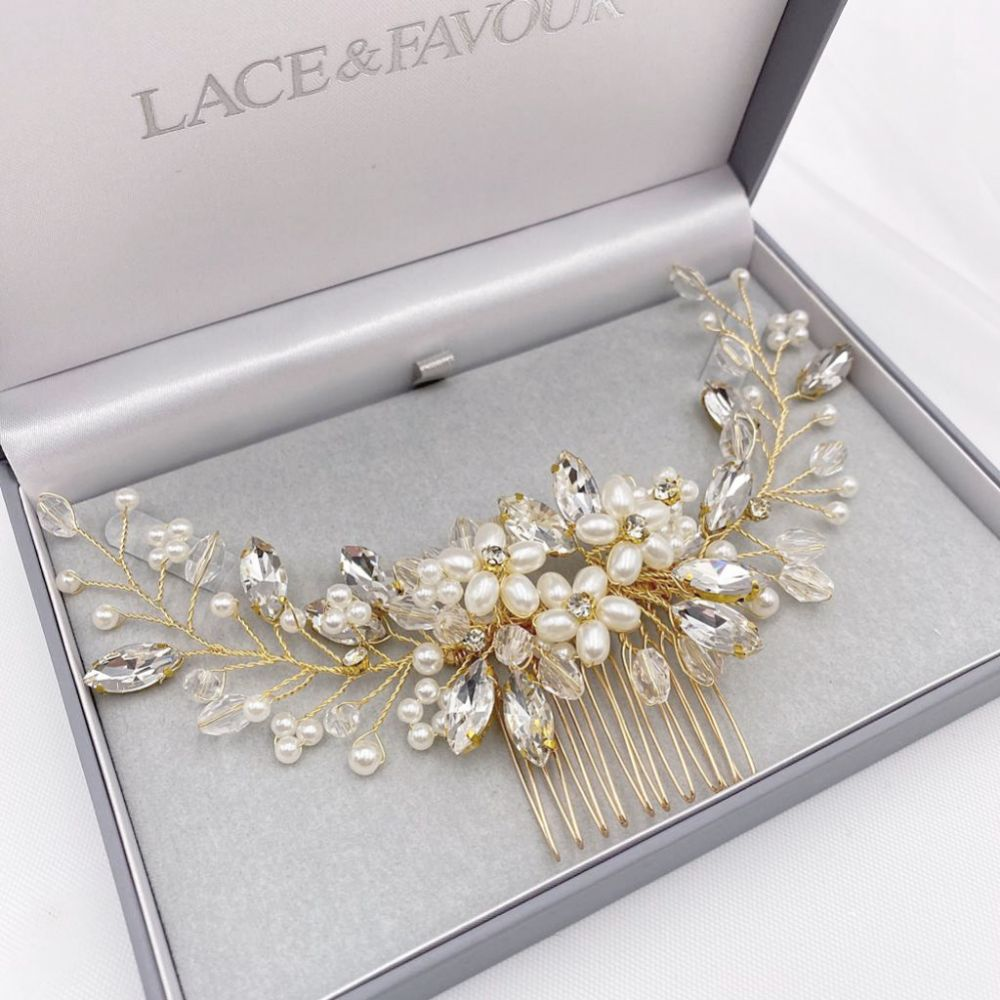 Destiny Pearl Flowers and Crystal Sprigs Bridal Headpiece (Gold)