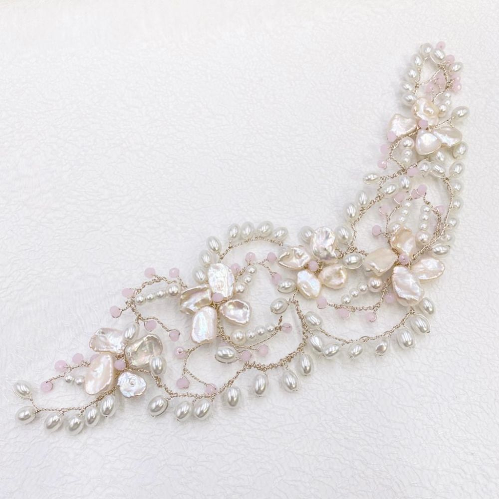 Fiji Freshwater Pearl and Blush Crystal Headpiece