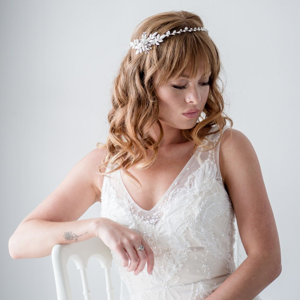 Fleur Delicate Leaves and Pearl Wedding Hair Vine