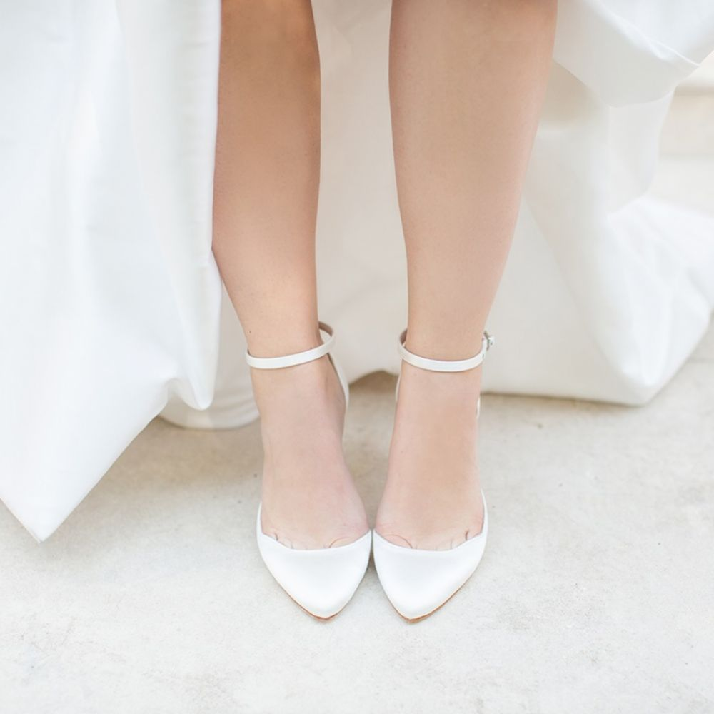 Harriet Wilde Sahara Mid Heel Ivory Satin Two Piece Bridal Court Shoes