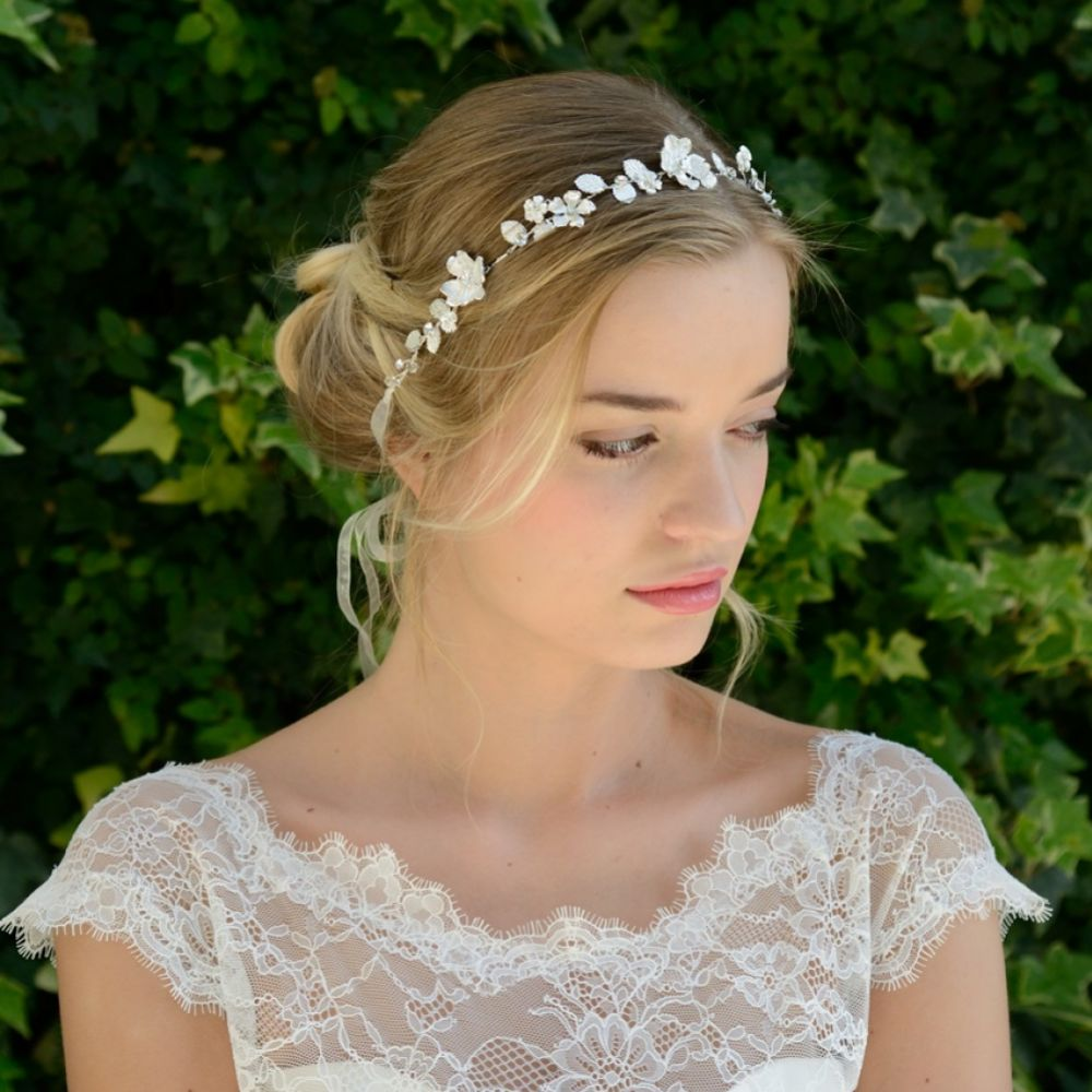Ivory and Co Celestia Silver Enamelled Blossoms Wedding Hair Vine