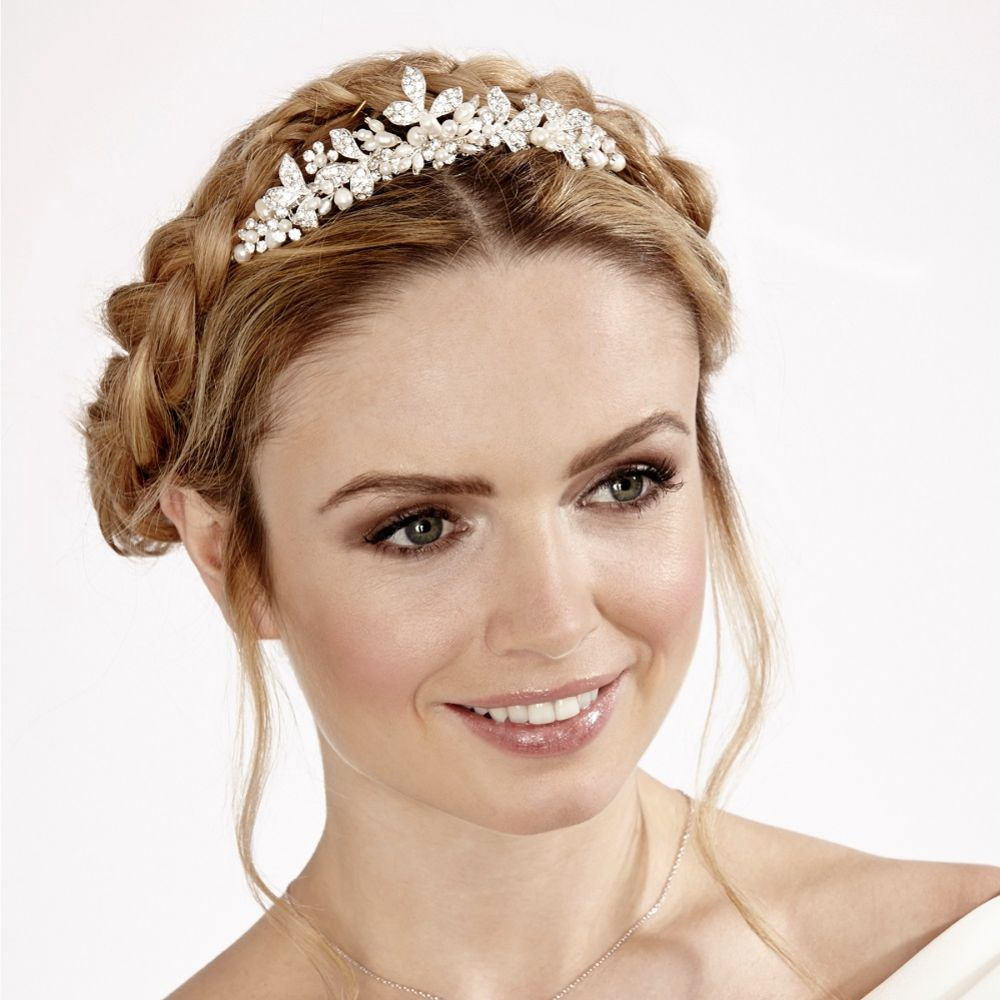 Linzi Jay Pearl and Diamante Leaves Bridal Hair Comb LP667