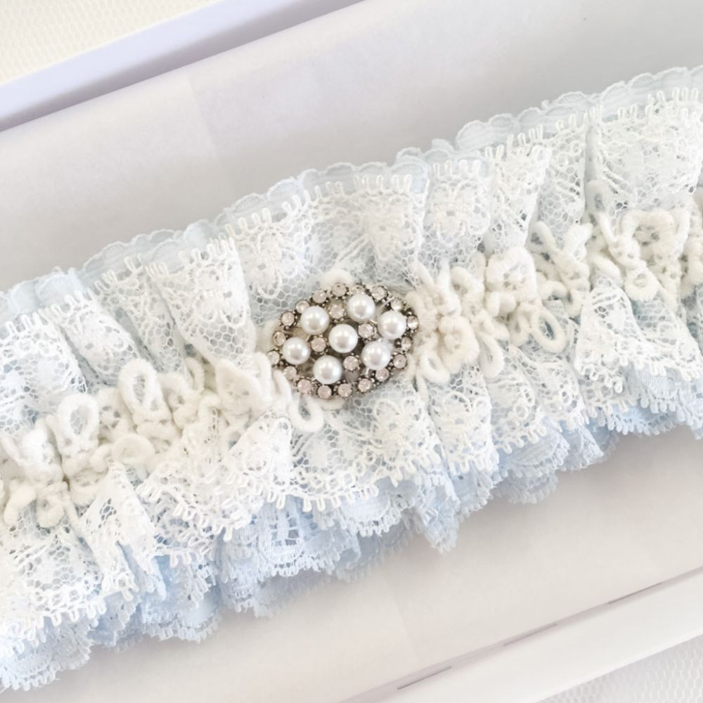 Promise Blue and Ivory Lace Garter with Pearl and Crystal Brooch
