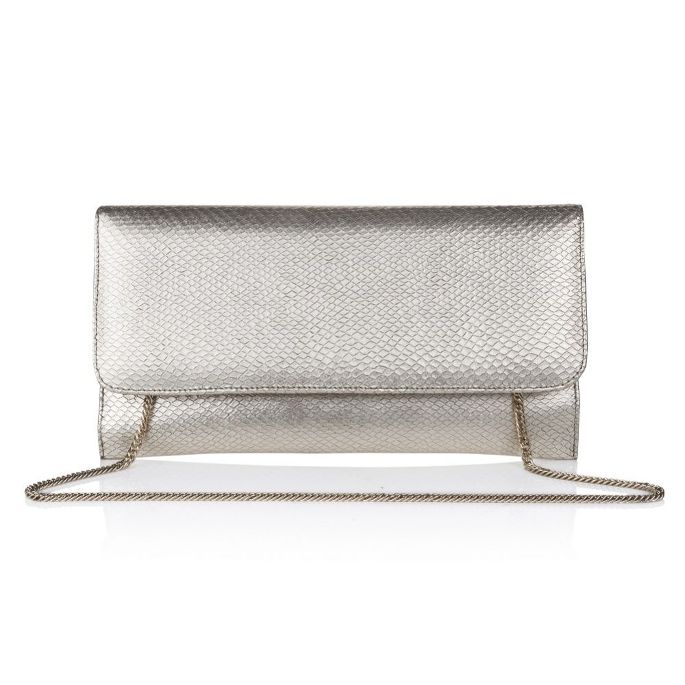 Rachel Simpson Layla Gold Snake Print Leather Clutch Bag