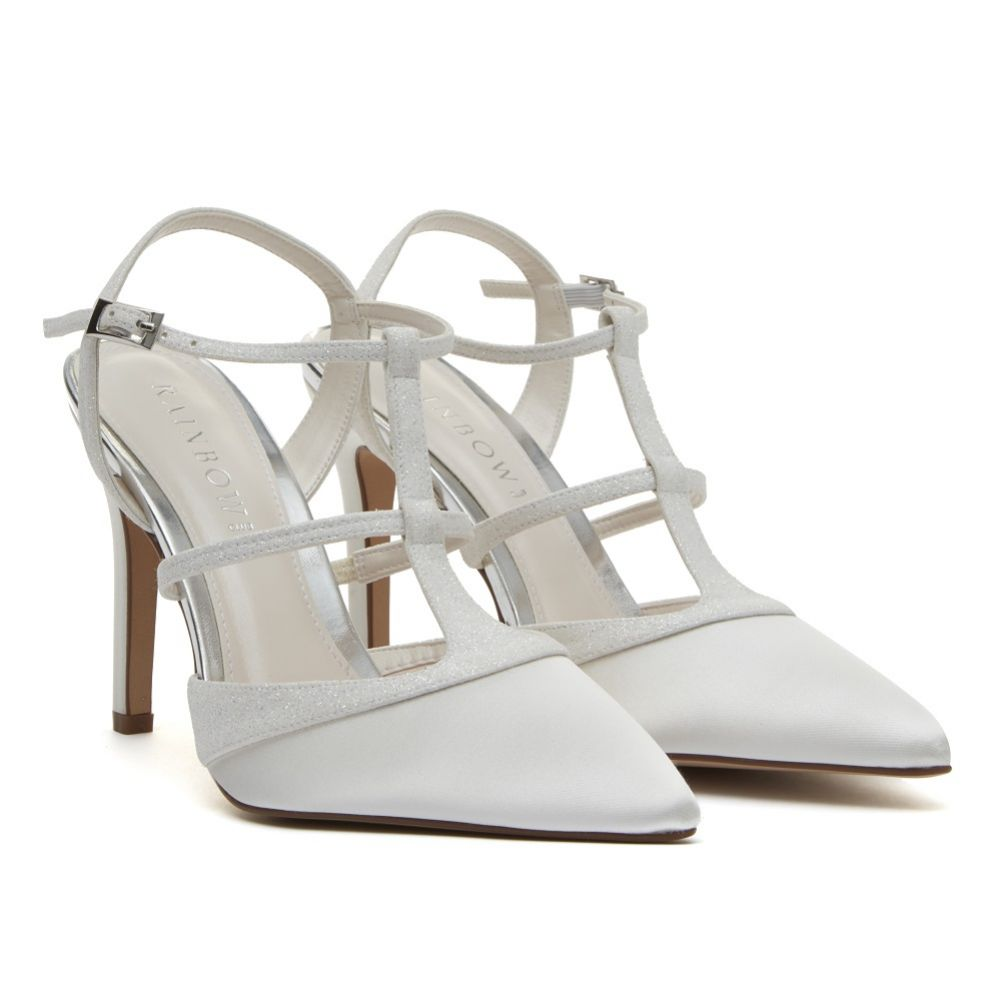 Rainbow Club Rita Ivory Satin and Glitter Strappy Court Shoes