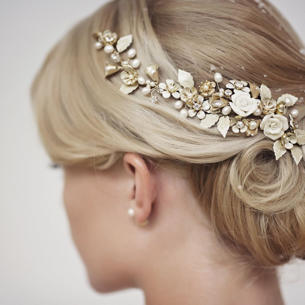 Rita Gold Flowers and Leaves Wedding Hair Vine