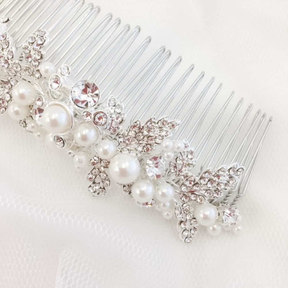 SassB Maisie Luxe Pearl and Crystal Wedding Hair Comb