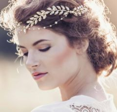 Aida Roman Style Golden Crystal Embellished Leaves Headpiece