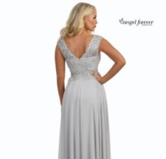 Angel Forever V Neck A Line Chiffon Prom Dress with Lace Bodice (Silver)