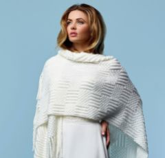 Anita Ivory Knitted Wedding Shawl with Sequins