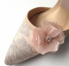 Diane Hassall Sweet Pea Blush Silk Flower Shoe Clips