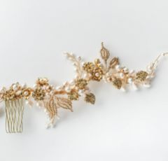 Elora Golden Flowers and Leaves Bridal Hair Vine