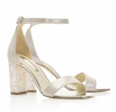 Freya Rose Martene Champagne Suede Mother of Pearl Block Heel Sandals