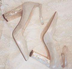 Freya Rose Micola Champagne Suede Block Heel Courts
