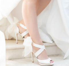 Harriet Wilde Bowe Ivory Satin Platform Sandals with Organza Bow