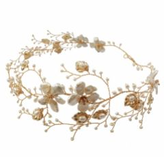 Hermione Harbutt Celeste Garland of Gold Leaves and Pearls Headpiece