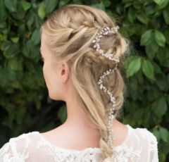 Ivory and Co Dream Rose Crystal Sprig Rose Gold Wedding Hair Vine