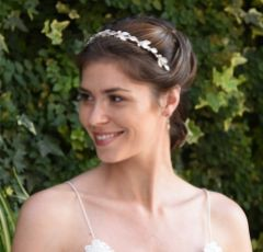 Ivory and Co Pearl Mist Rose Gold Enamelled Leaves Headband