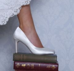 Perfect Bridal Darci Dyeable Ivory Satin Wedding Court Shoes