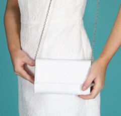 Perfect Bridal Lola Dyeable Ivory Satin Clutch Bag