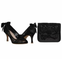 Perfect Bridal Pepper Black Satin and Sequin Lace Clutch Bag with Bow Detail