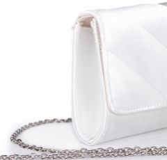 Pink Paradox Darla Dyeable Ivory Satin Pleated Clutch Bag