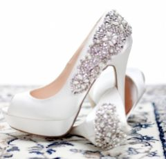 Pink Paradox Indulgence Embellished Ivory Satin Platform Wedding Shoes