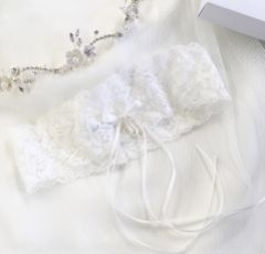 Purity Ivory Delicate Lace Wedding Garter with Pearl Droplet