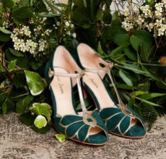 Rachel Simpson Mimosa Forest Green Suede Vintage T-Bar Shoes