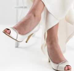 Rainbow Club Chelsey Dyeable Ivory Satin and Silver Glitter Peep Toes