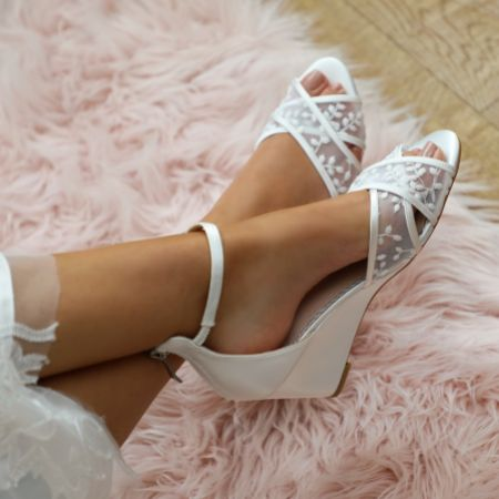 Wedge Wedding Shoes Wedge Bridal Shoes Lace Favour