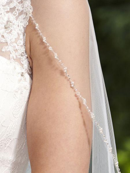 Bridal Veil Art Deco Veil Sparkle Veil- PEMBERLY Veil Silver Beaded Veil Veil Wedding Veil One layer Veil Beaded Veil Fingertip Veil