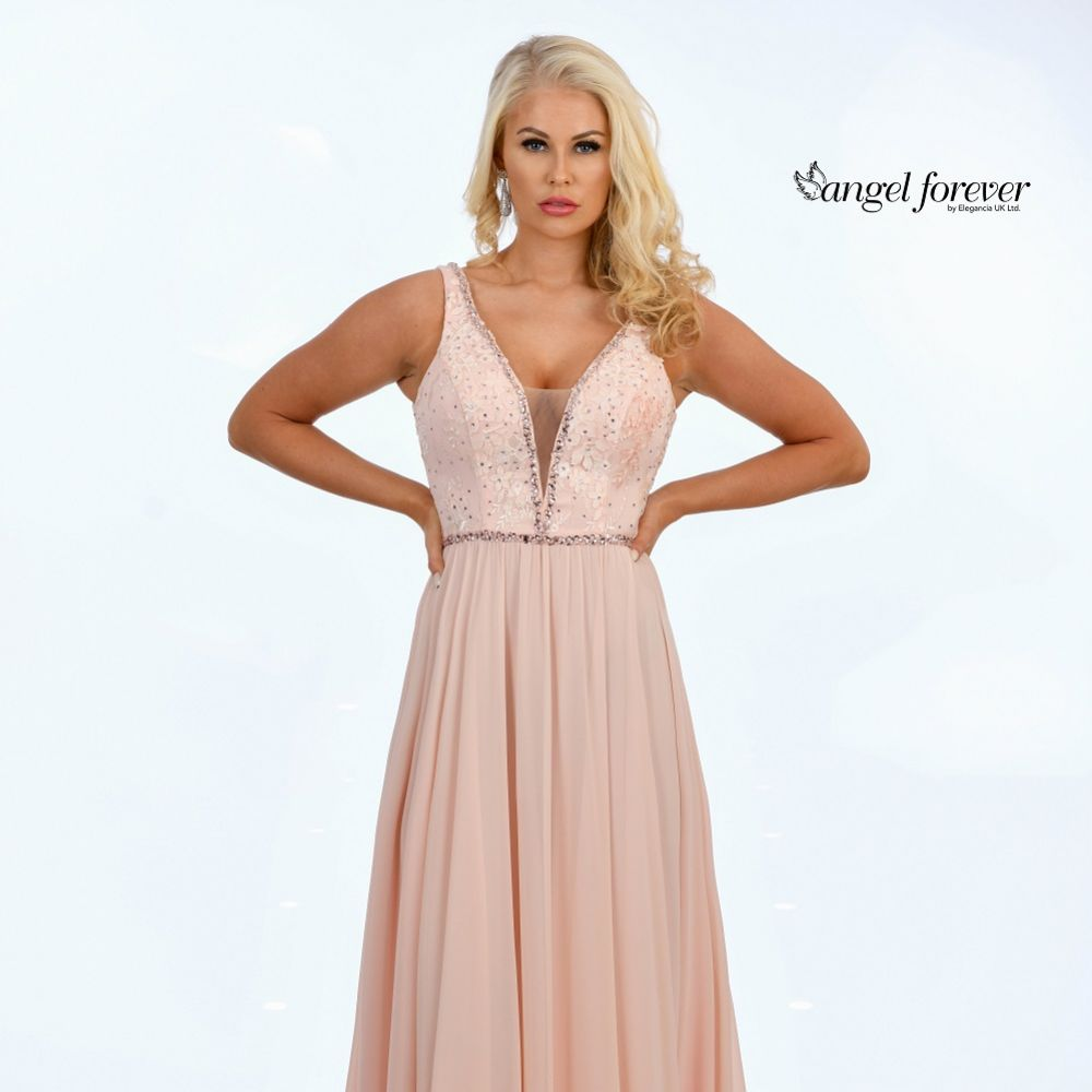 Angel Forever Beaded Lace V Neck A Line Chiffon Prom Dress (Light Rose)