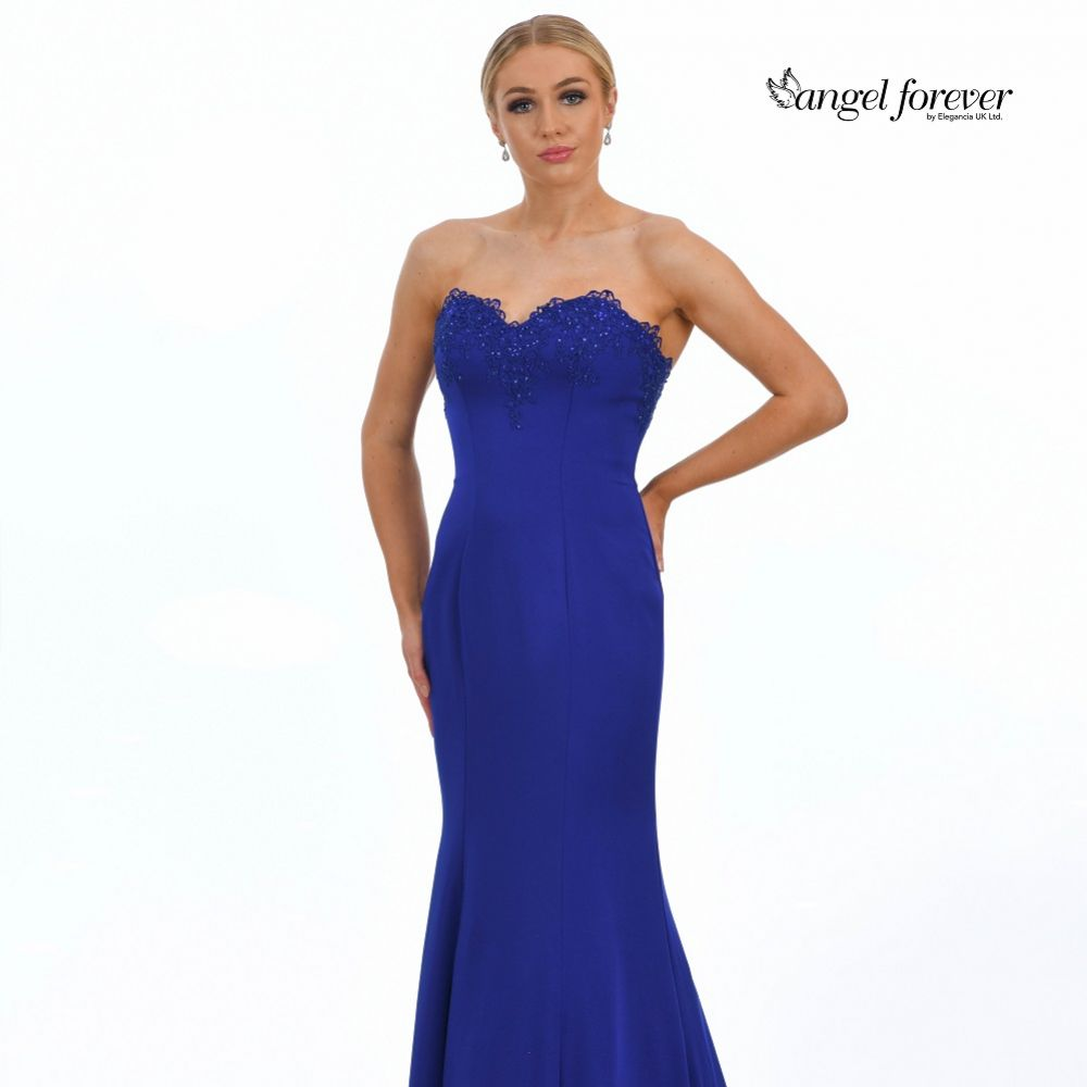 Angel Forever Strapless Mermaid Prom Dress with Lace Detail (Royal Blue)