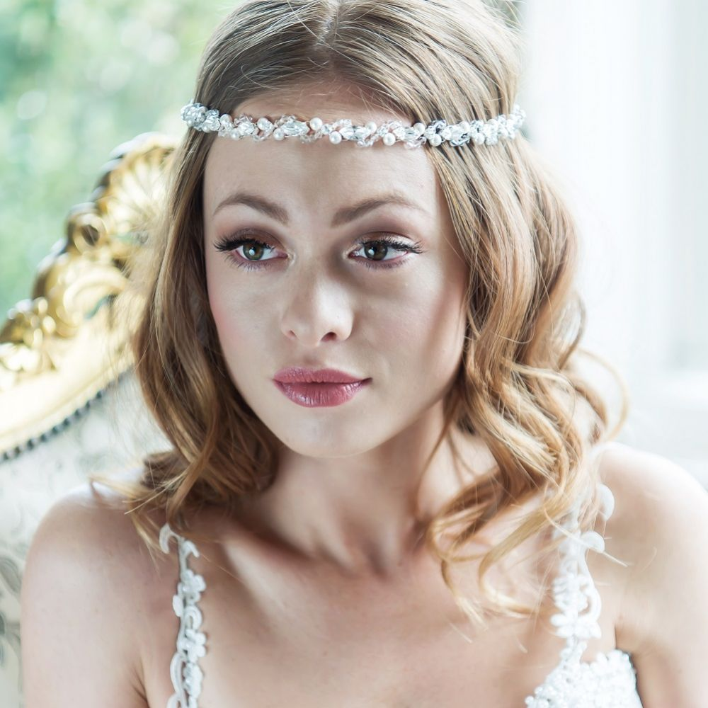 Arianna Boho Pearl and Crystal Bridal Brow Band AR448