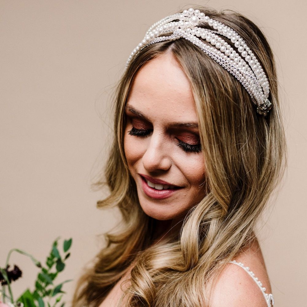 Arianna Zephyr Multi Strand Pearl and Diamante Headband AR628