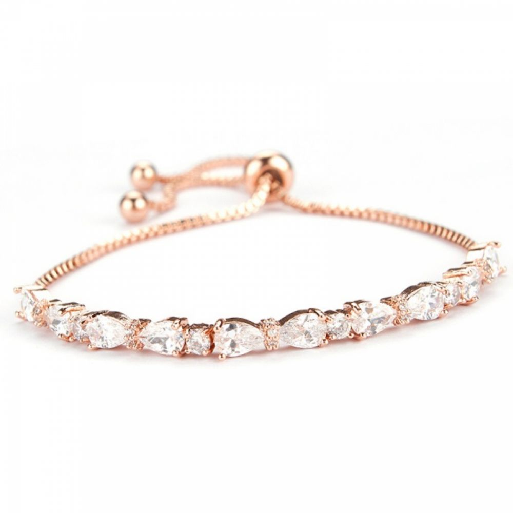 Charlee Chic Cubic Zirconia Wedding Bracelet (Rose Gold)