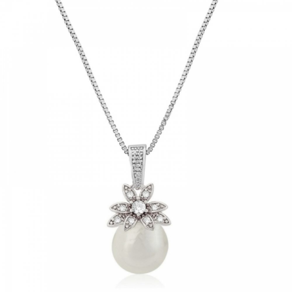Eleanor Vintage Inspired Crystal and Pearl Pendant Necklace