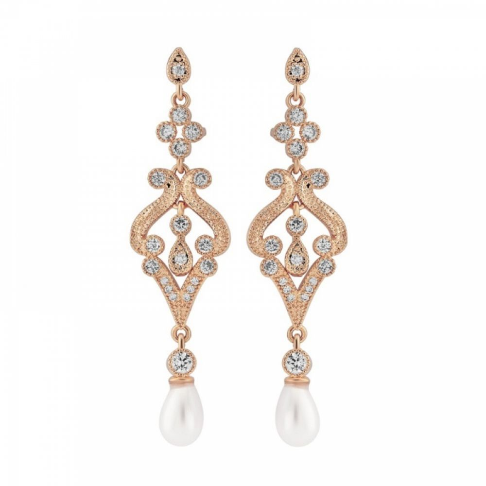 Enchanting Vintage Inspired Chandelier Wedding Earrings (Rose Gold)