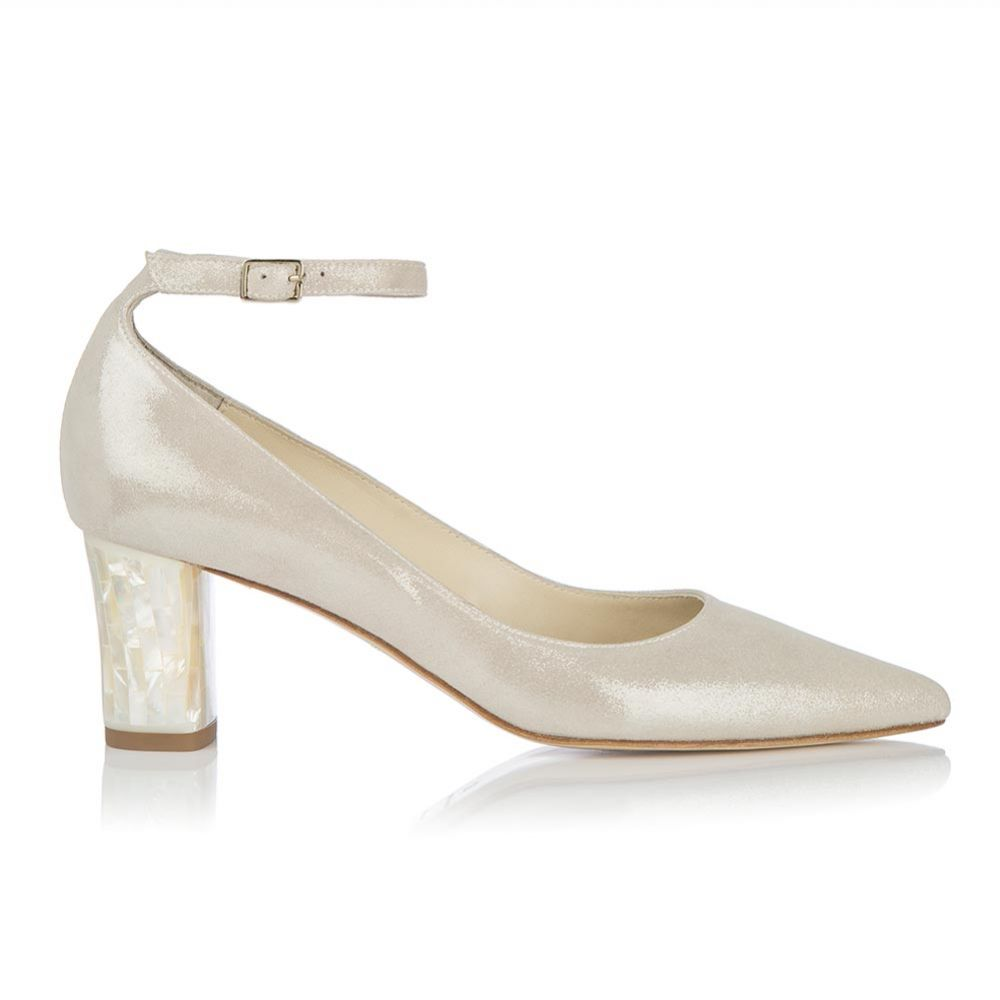 Freya Rose Micola Midi Champagne Suede Block Heel Courts
