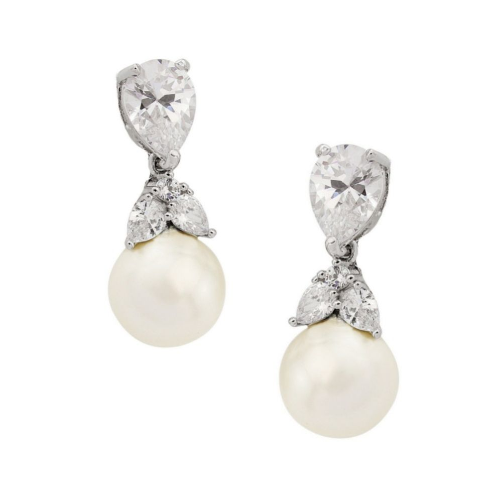 Graceful Crystal and Pearl Wedding Earrings (Silver)