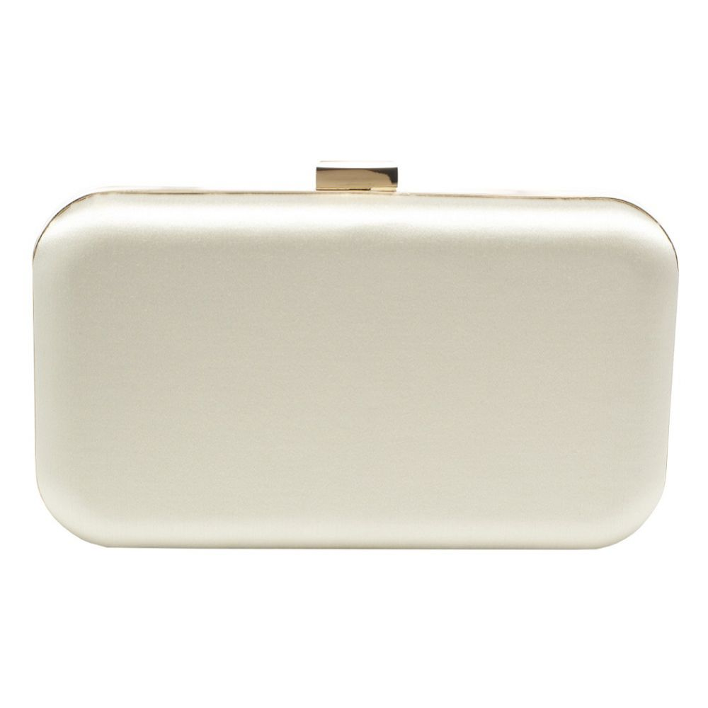 Harriet Wilde Amelia Ivory Satin Clutch Bag with Gold Clasp