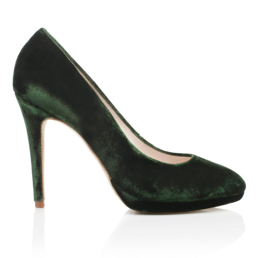 Harriet Wilde Amy Forest Green Velvet Platform Court Shoes