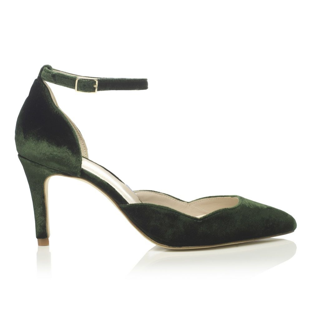 Harriet Wilde Sahara Mid Forest Green Velvet Two Piece Court Shoes
