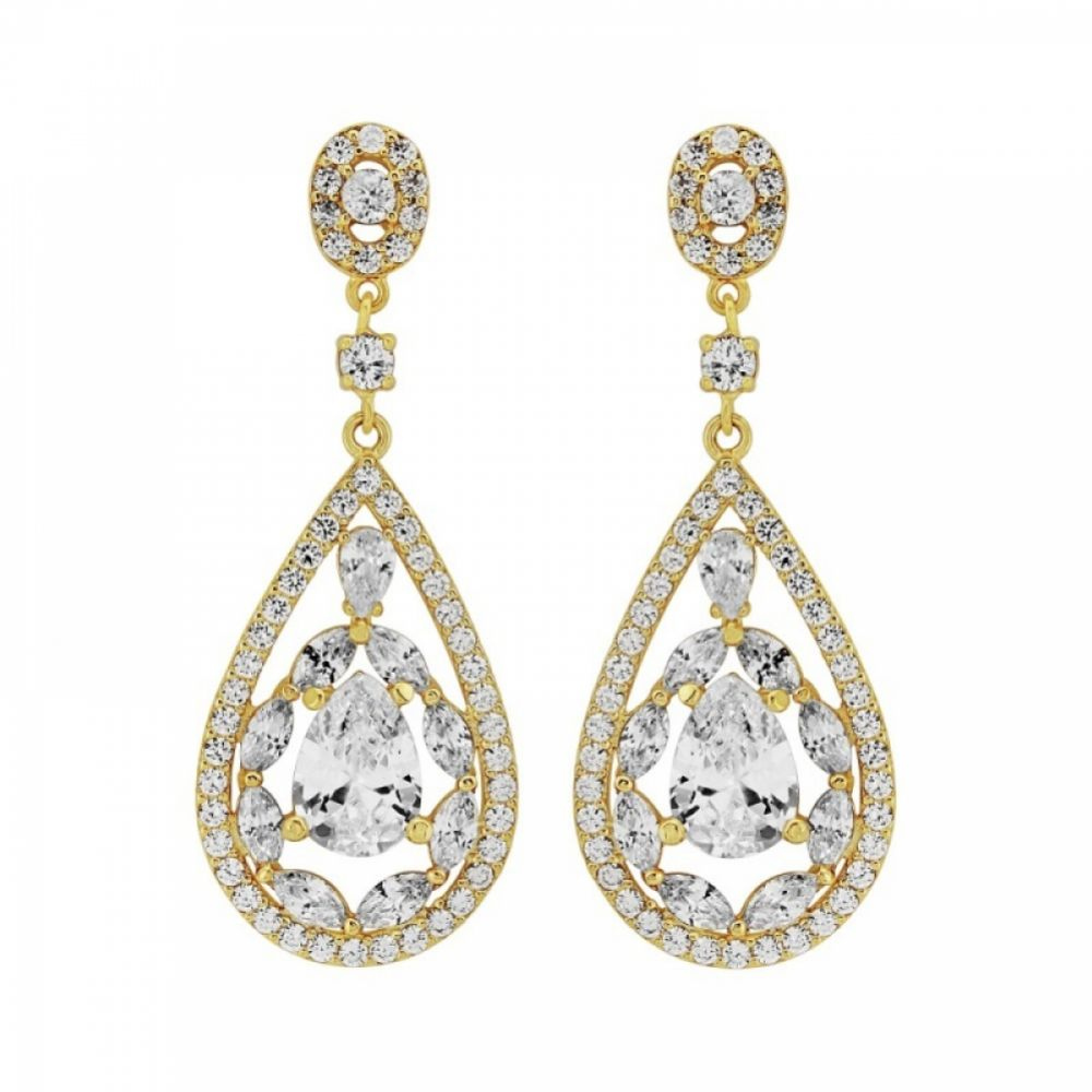 Hollywood Vintage Inspired Cubic Zirconia Drop Earrings (Gold)