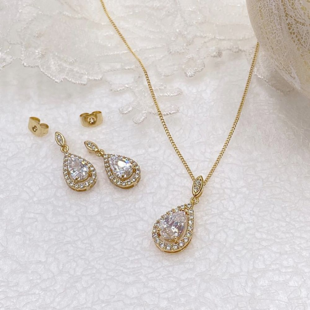 Ivory and Co Belmont Gold Crystal Bridal Jewellery Set