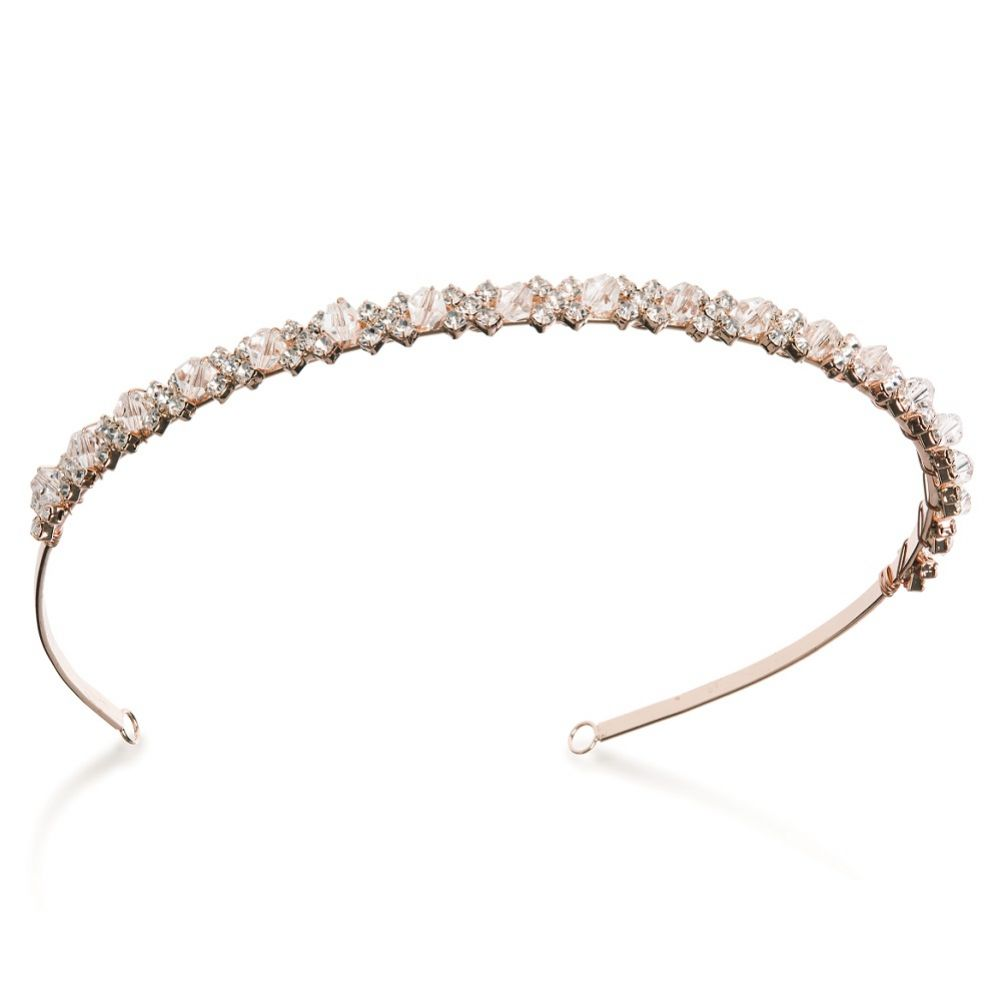 Ivory and Co Evie Narrow Rose Gold Crystal Headband